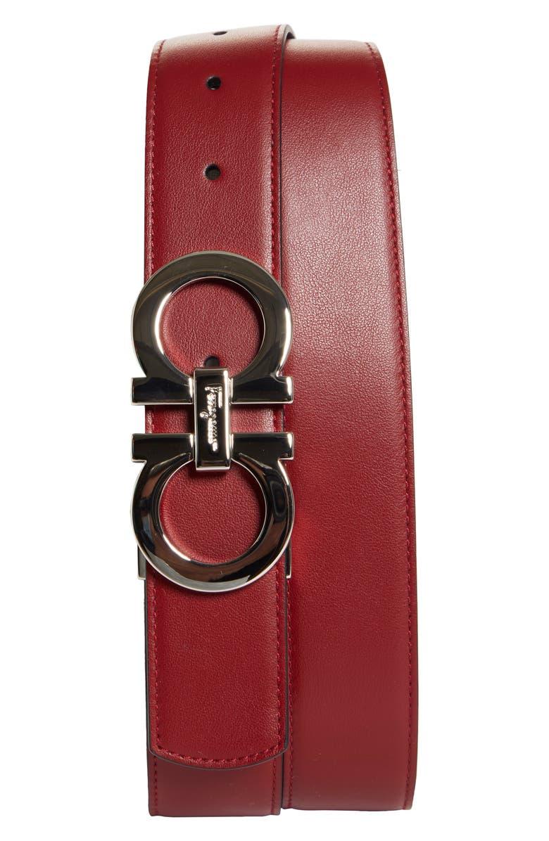 SALVATORE FERRAGAMO Calfino Reversible Belt, Main, color, RED