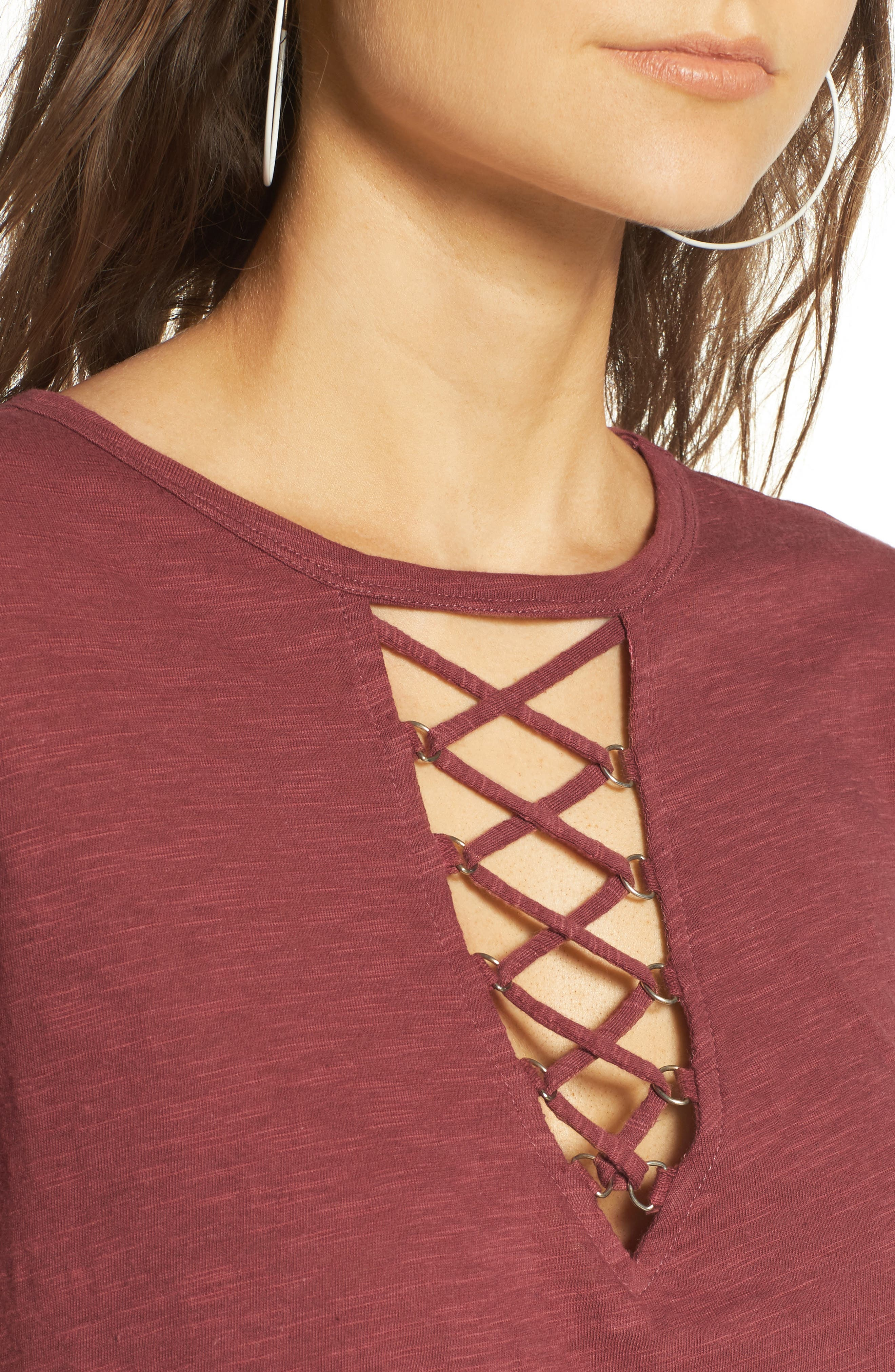 ,                             Grommet Lace-Up Tee,                             Alternate thumbnail 38, color,                             200