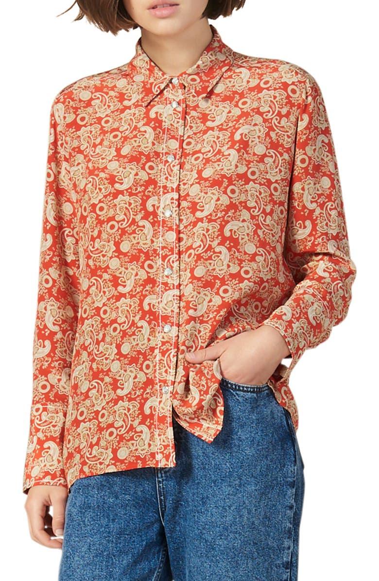 SANDRO Lanni Paisley Silk Shirt, Main, color, RED