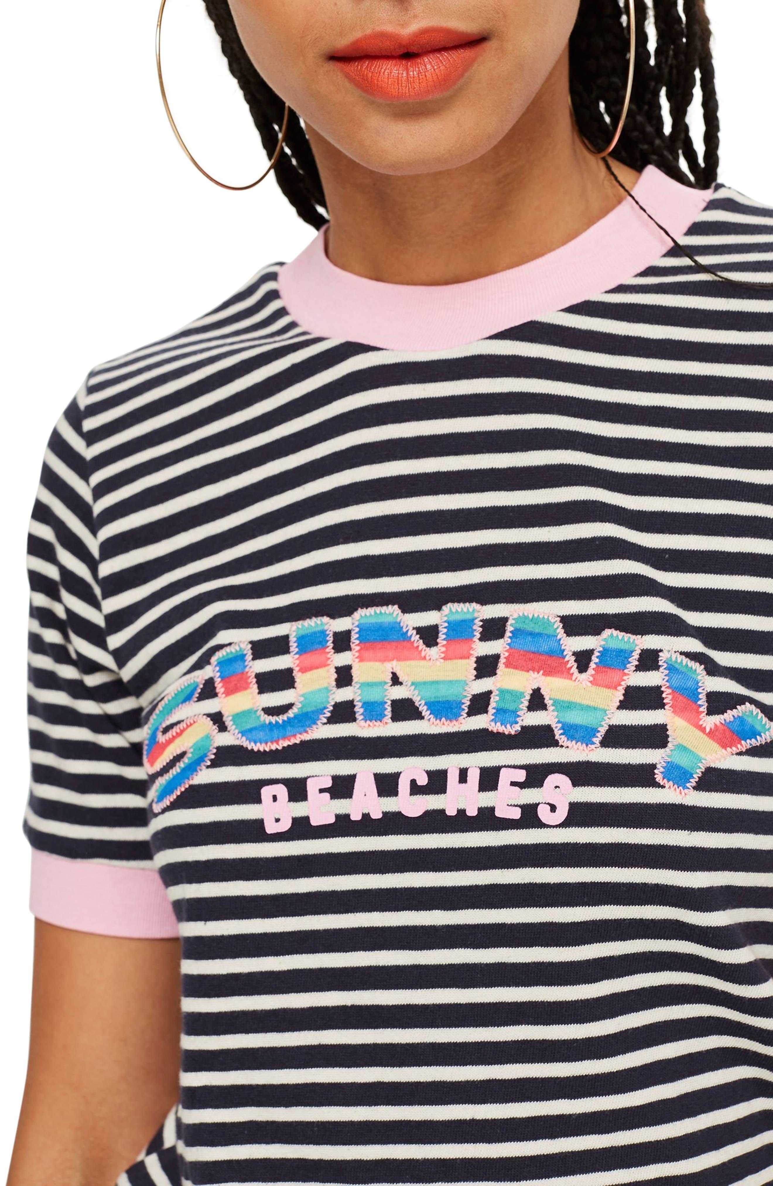 ,                             Sunny Beaches Stripe Tee,                             Alternate thumbnail 3, color,                             001