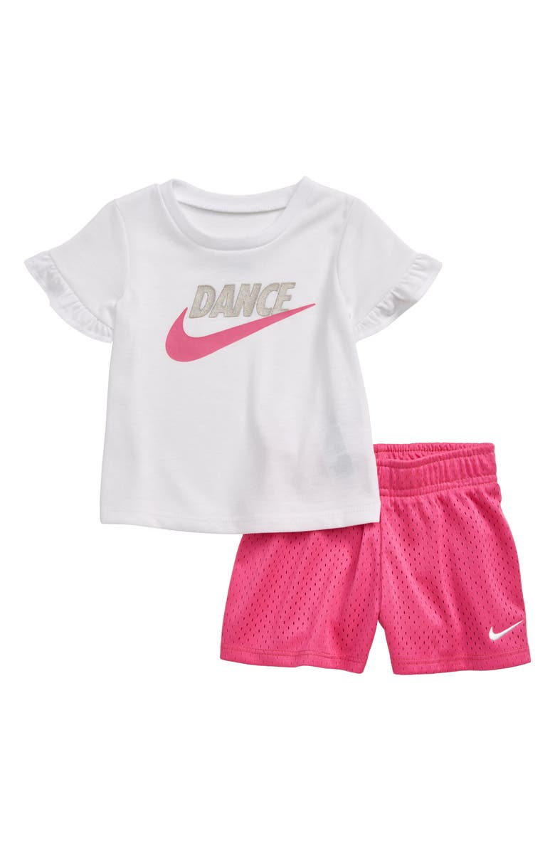 NIKE Dance Flutter Sleeve T-Shirt & Mesh Shorts Set, Main, color, 650