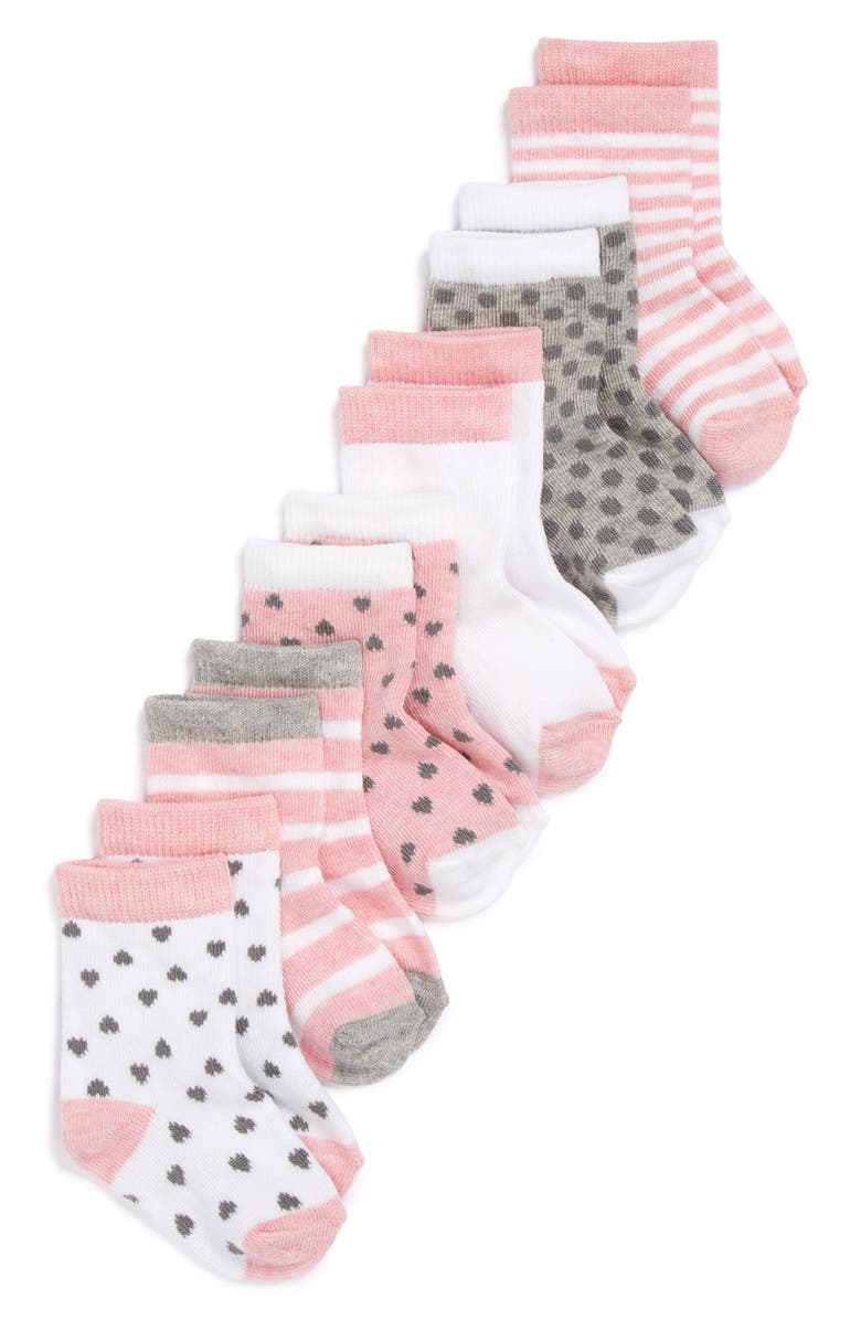NORDSTROM BABY Crew Socks, Main, color, PINK HEATHER PACK