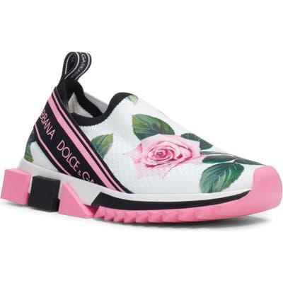 Dolce & gabbana Sorrento Rose Logo Sneaker - White