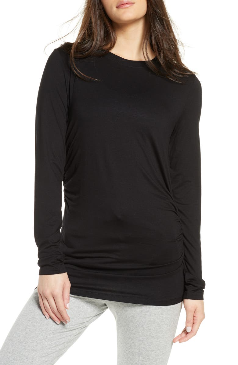 ZELLA Asymmetrical Side Ruched Tee, Main, color, BLACK