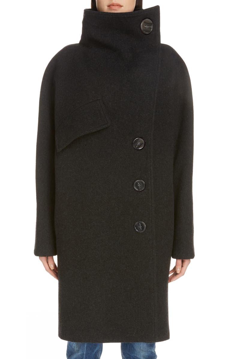 ACNE STUDIOS Ciara Boiled Wool Blend Coat, Main, color, DARK GREY MELANGE