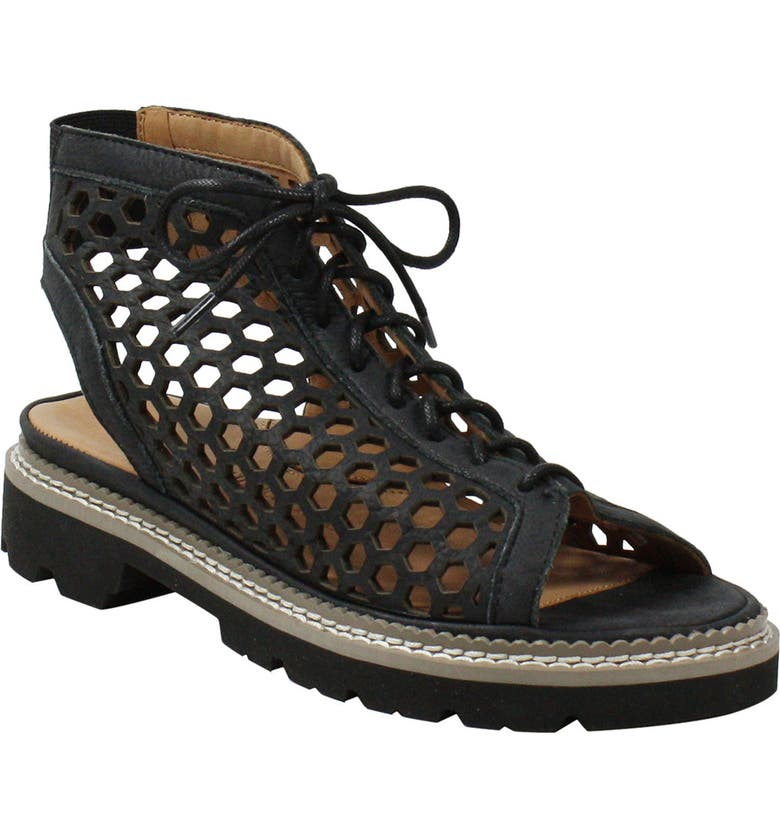 L'AMOUR DES PIEDS L'Amour de Pieds Dantu Lace-Up Sandal, Main, color, BLACK DISTRESSED NUBUCK