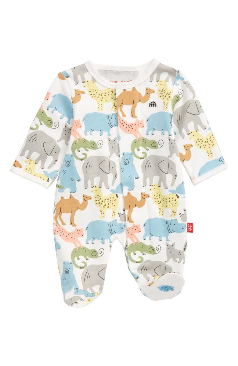 MAGNETIC ME Zoo Crew Organic Cotton Footie, Main, color, 100