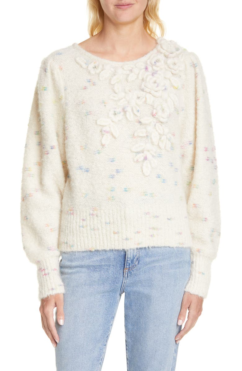 LOVESHACKFANCY Claudette Floral Alpaca Blend Sweater, Main, color, MOONRISE