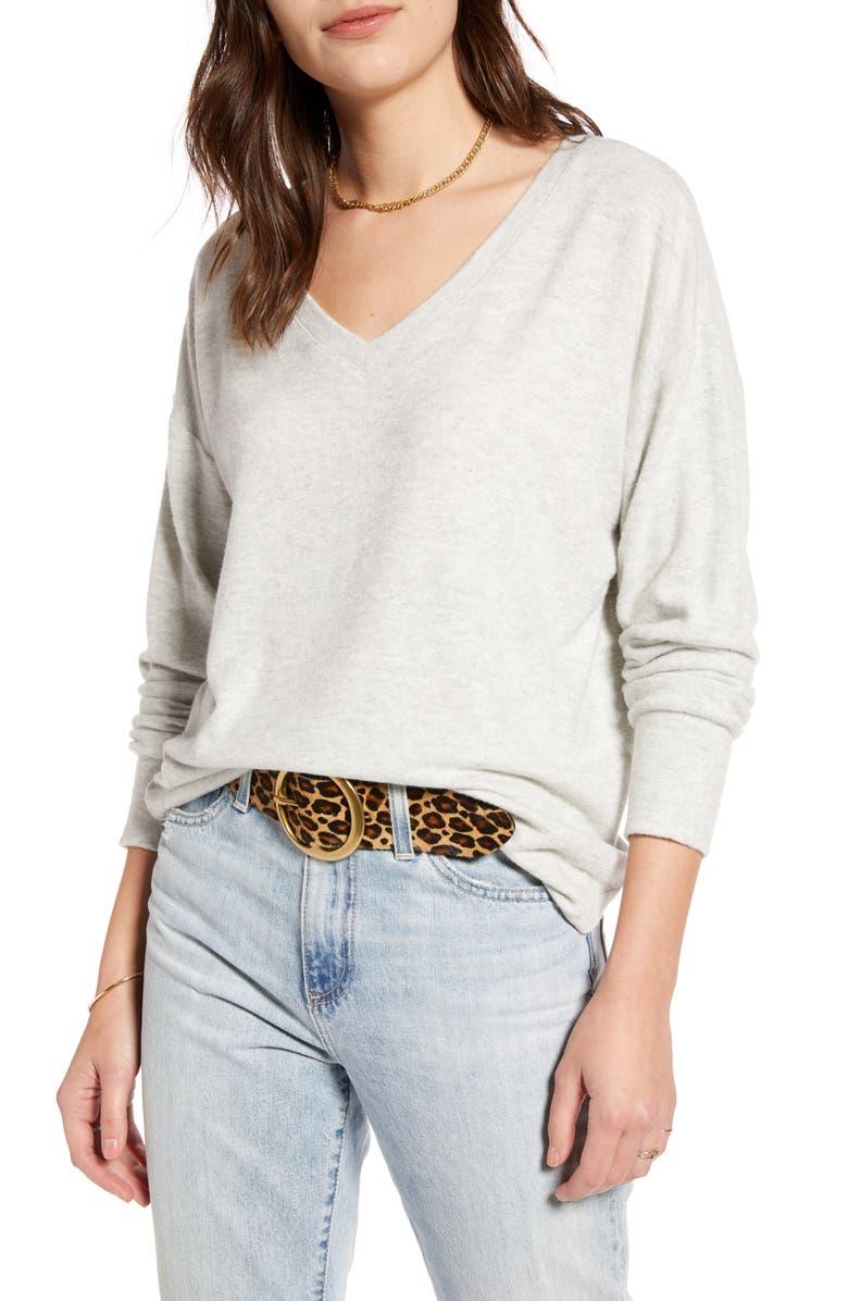 TREASURE & BOND Cozy V-Neck Sweater, Main, color, GREY LIGHT HEATHER