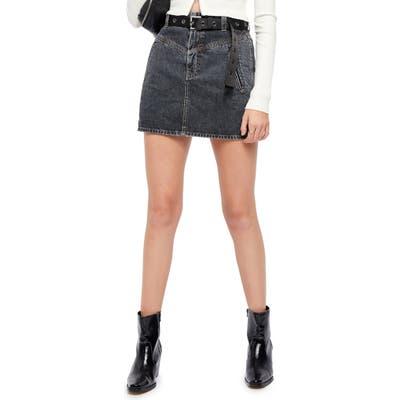 Bdg Emma Notch Denim Skirt, Black