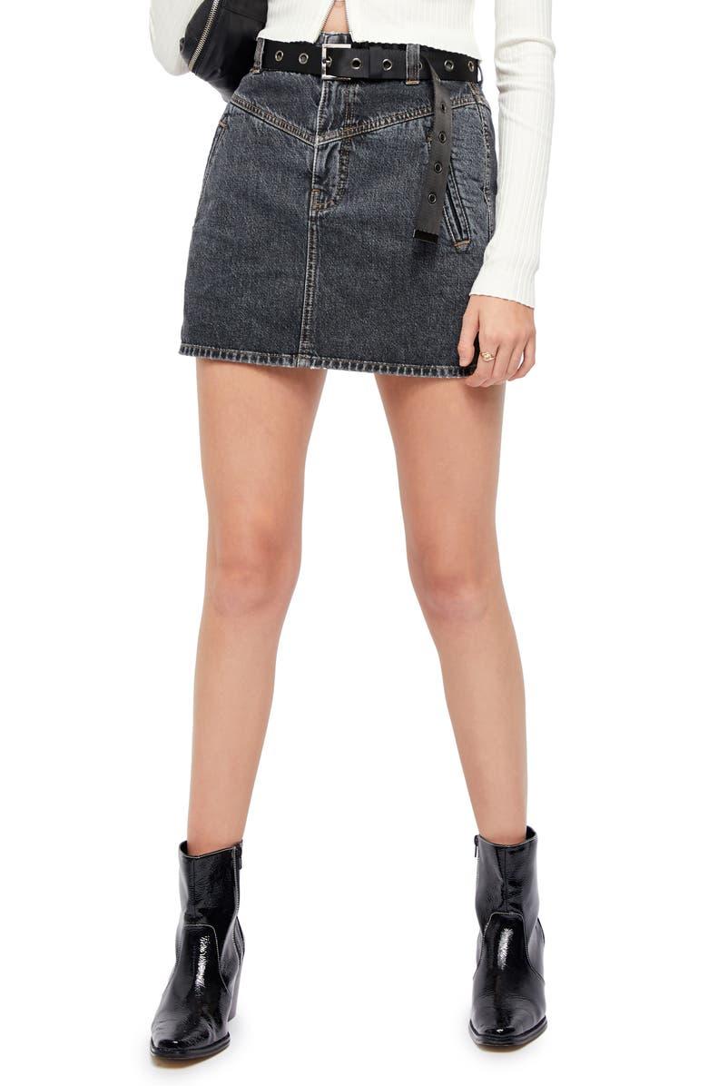 BDG URBAN OUTFITTERS BDG Emma Notch Denim Skirt, Main, color, 001