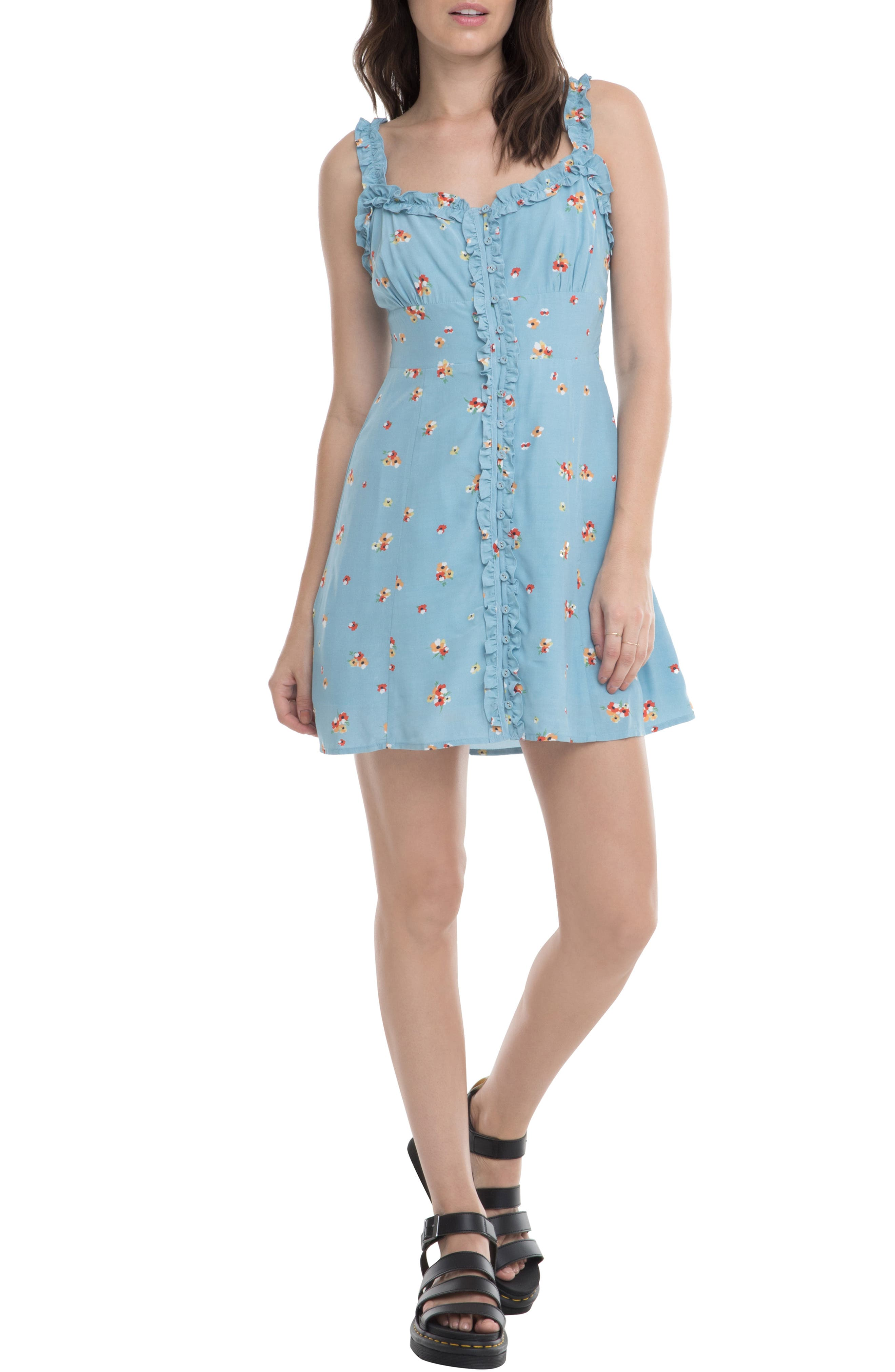 Astr The Label Frill Detail Sundress, Blue