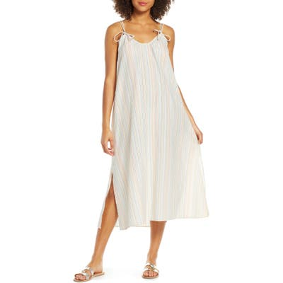 Madewell Rainbow Stripe Tie Strap Cover-Up Maxi Dress, Ivory