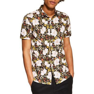 Topman Stretch Skinny Fit Floral Shirt