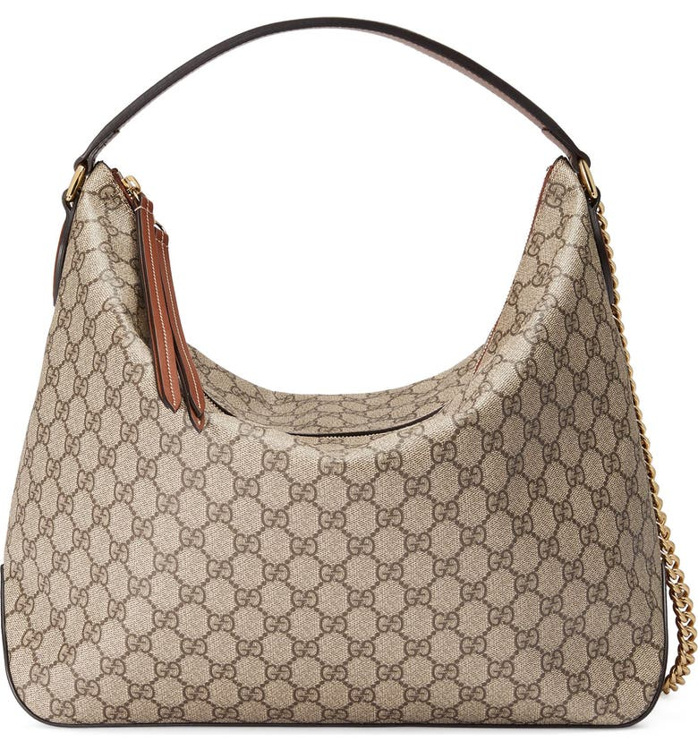 Gg Supreme Canvas Hobo Main Color Beige Ebony Tuscan