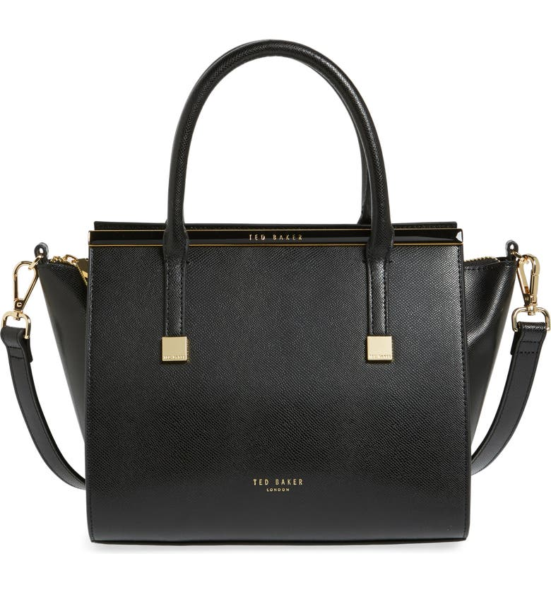 TED BAKER LONDON Tabatha Leather Satchel, Main, color, 001