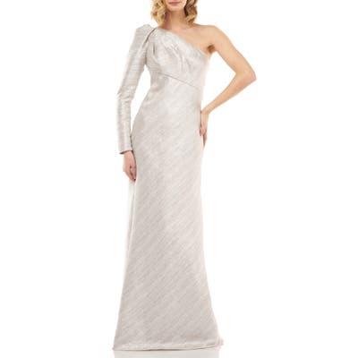 Kay Unger Metallic Stripe One-Shoulder Trumpet Gown, Metallic