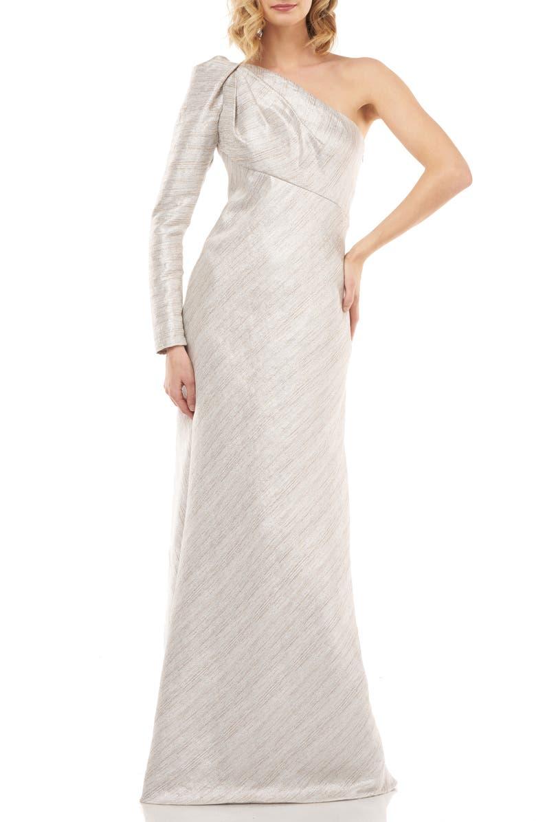 KAY UNGER Metallic Stripe One-Shoulder Trumpet Gown, Main, color, SILVER MULTI