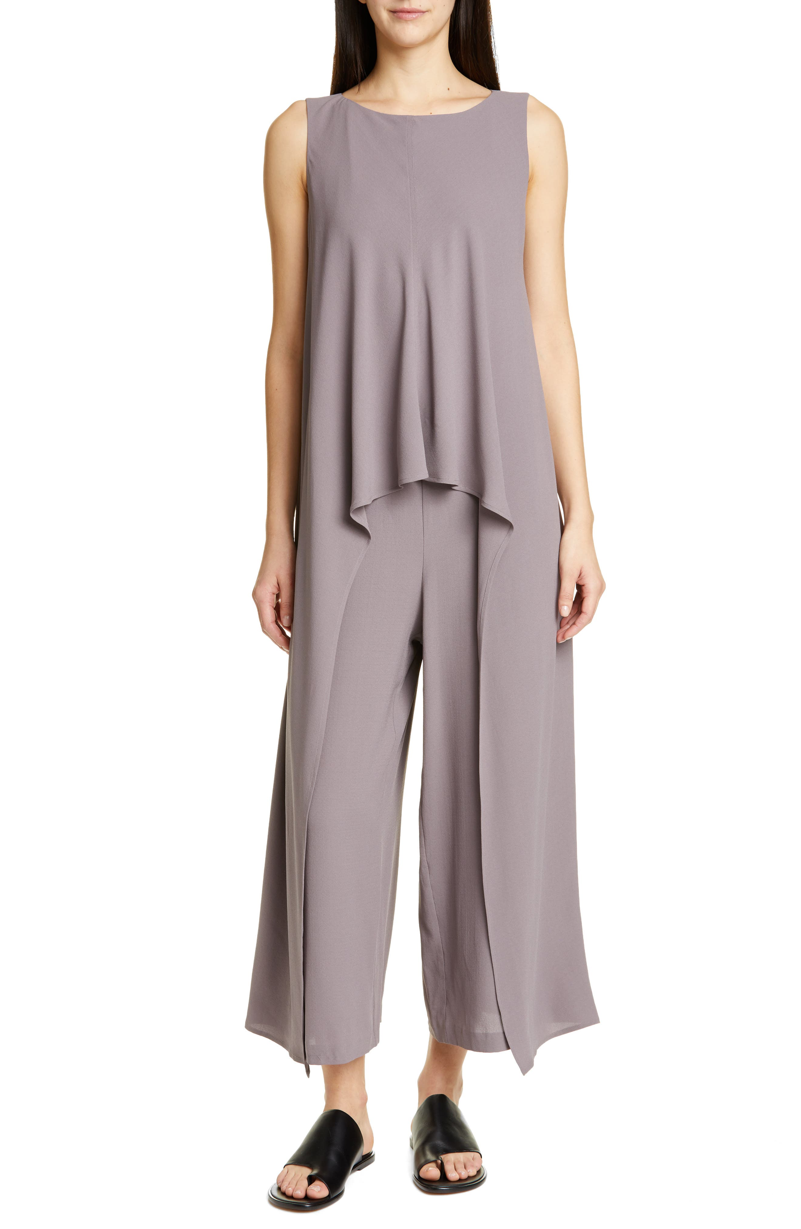 Image of Eileen Fisher Boatneck Sleeveless Jumpsuit