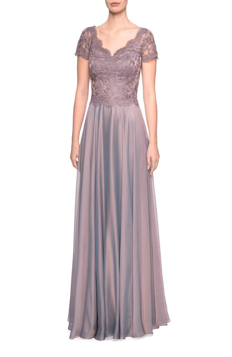 LA FEMME Embroidered Lace & Chiffon A-Line Gown, Main, color, COCOA