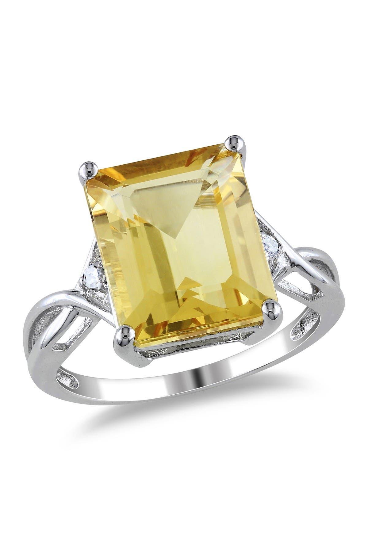 Image of Delmar Sterling Silver Citrine & White Topaz Emerald Ring