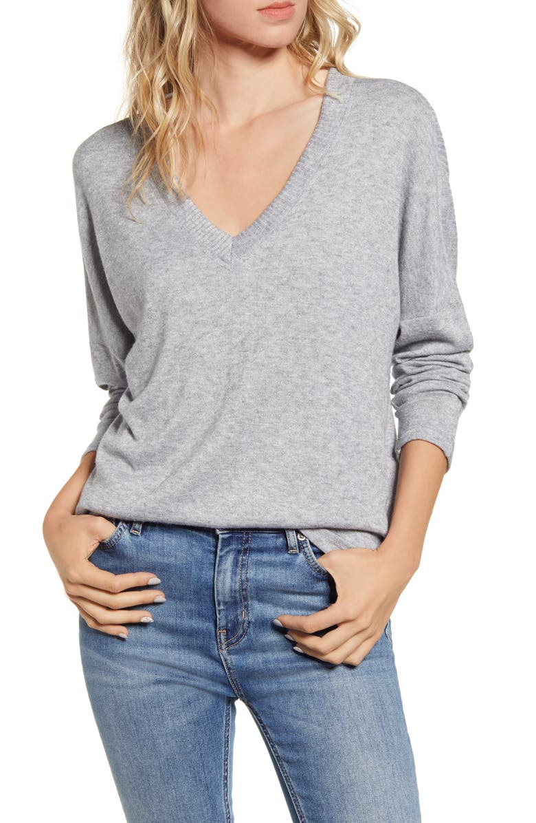 ALL IN FAVOR V-Neck Sweater, Main, color, HEATHER GREY