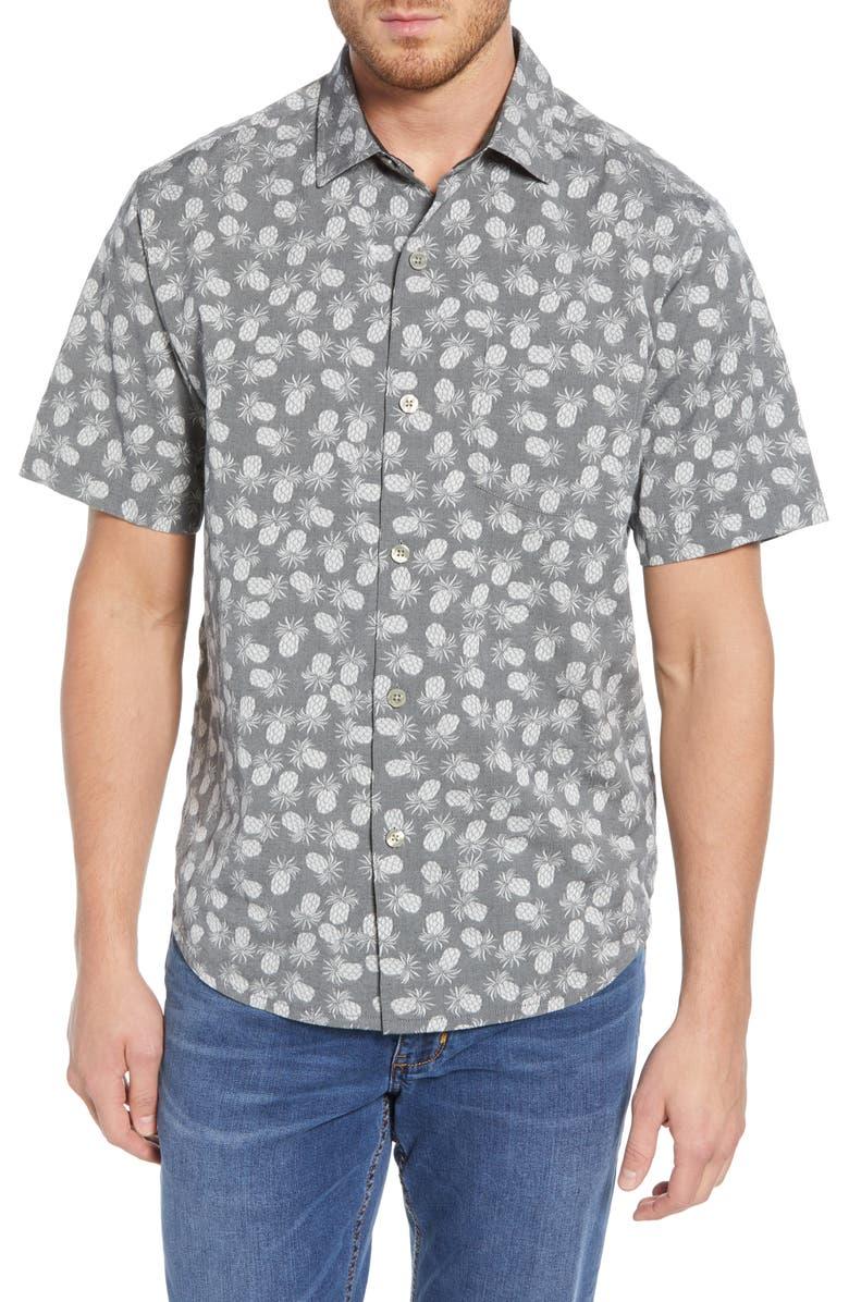 TOMMY BAHAMA Positano Pineapple Print Shirt, Main, color, GRAPHITE