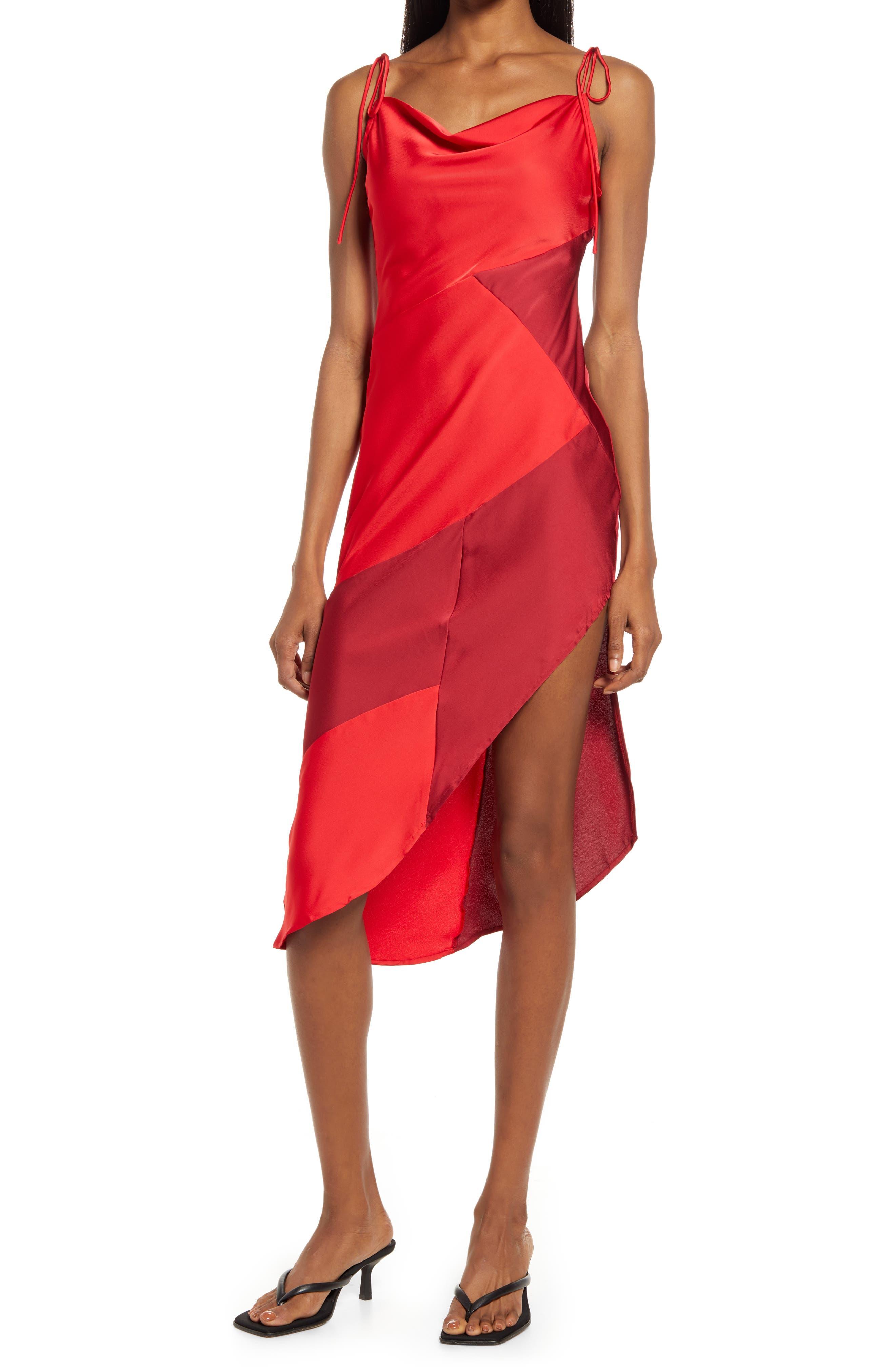 Asymmetric Tie Shoulder Midi Dress