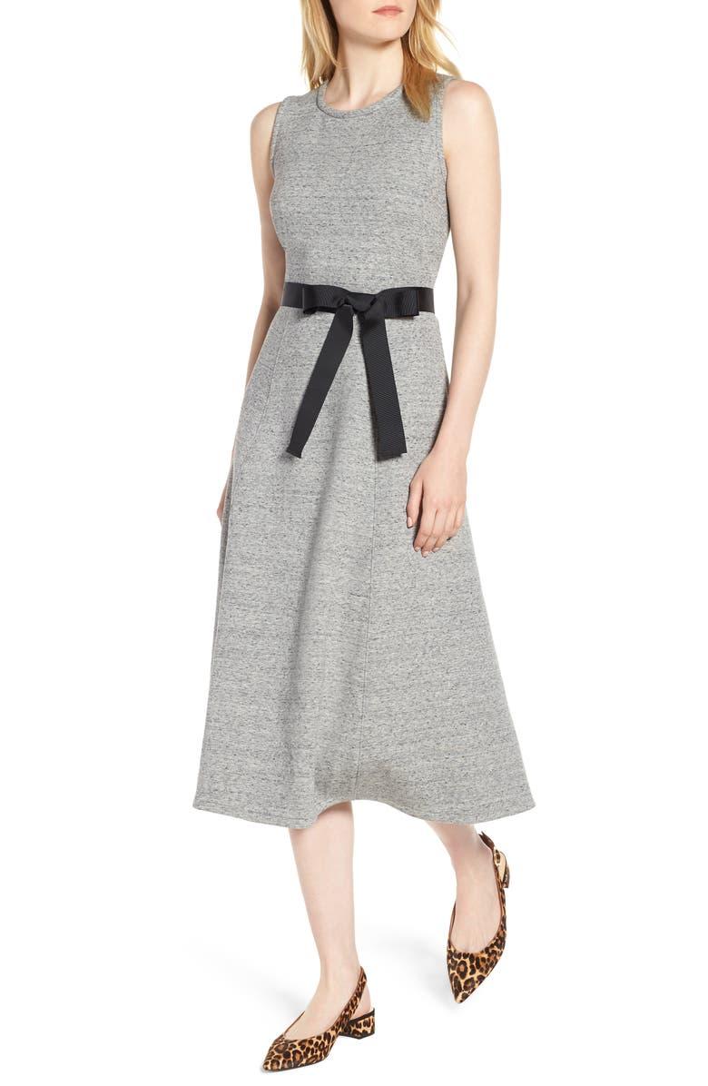 J.CREW Velvet Tie A-Line Dress, Main, color, 020