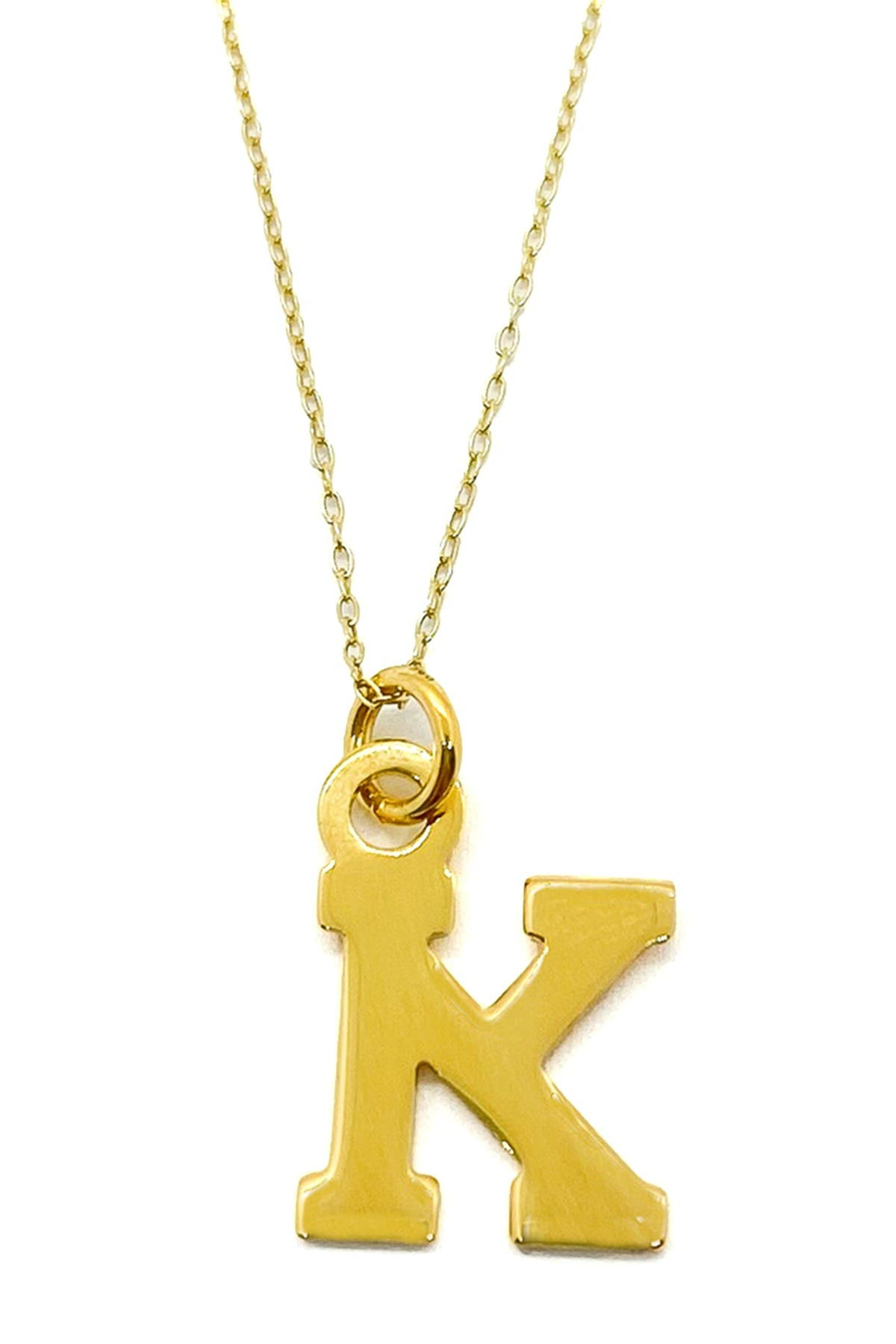 Image of Best Silver Inc. 18K Yellow Gold Plated Block Initial Necklace
