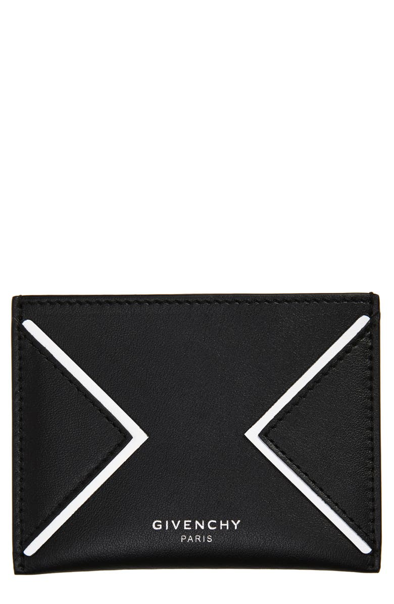 GIVENCHY V-Shape Leather Card Case, Main, color, BLACK/ WHITE