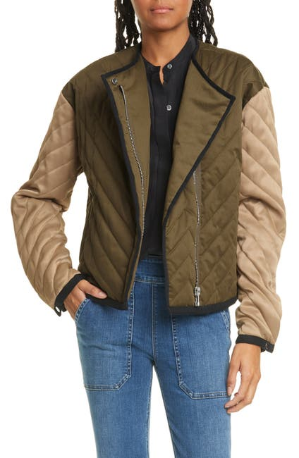 Image of FRAME Quilted Colorblock Jacket
