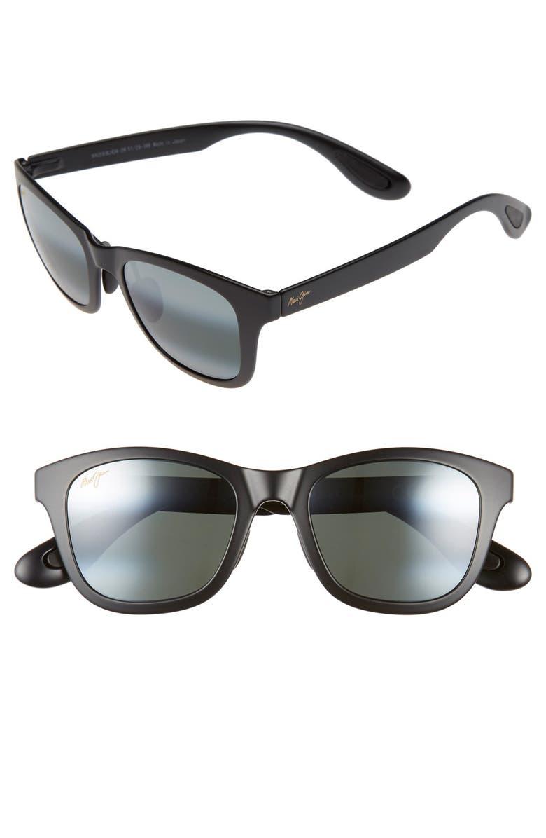 MAUI JIM Hana Bay 51mm PolarizedPlus2<sup>®</sup> Sunglasses, Main, color, MATTE BLACK/ NEUTRAL GREY
