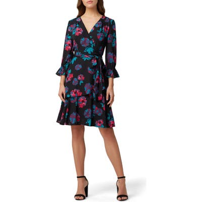 Petite Tahari Floral Long Sleeve Georgette Faux Wrap Dress, Black