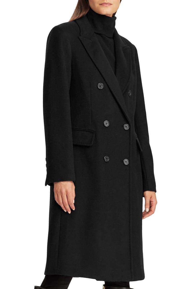 LAUREN RALPH LAUREN Double Breasted Reefer Coat, Main, color, BLACK