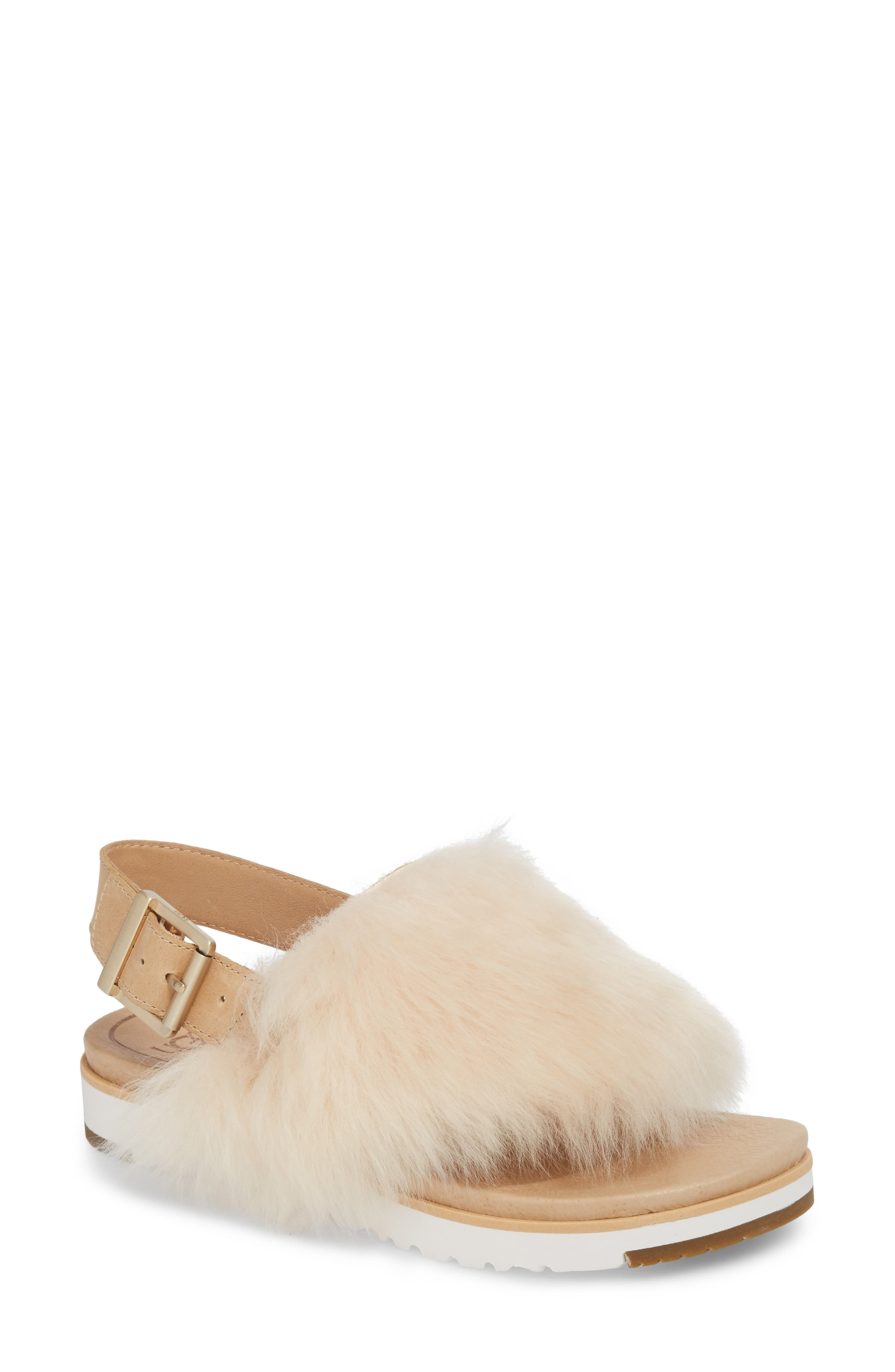 Ugg Holly Genuine Shearling Sandal, Beige