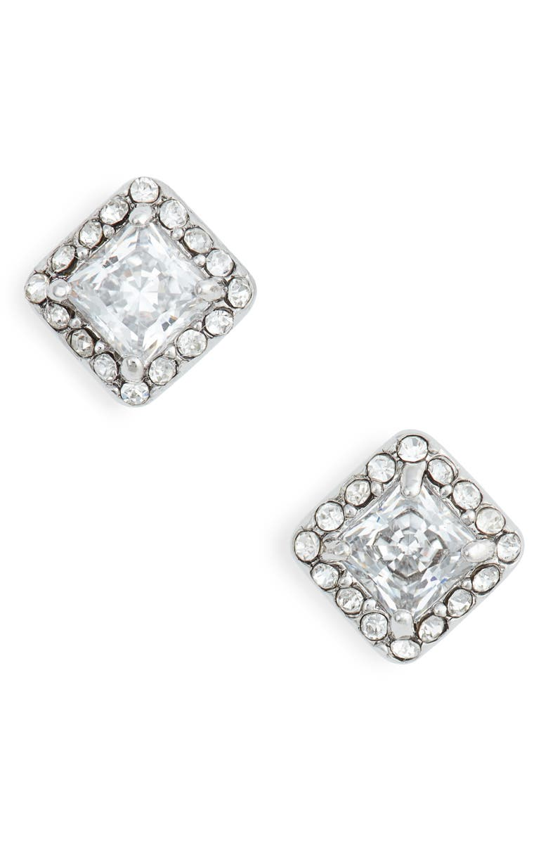 NORDSTROM Halo Cubic Zirconia Square Stud Earrings, Main, color, CLEAR- SILVER