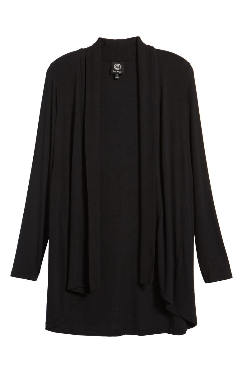 BOBEAU High/Low Jersey Cardigan, Main, color, BLACK