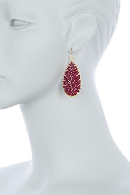 Image of Panacea Burgundy Crystal Beaded Teardrop Earrings