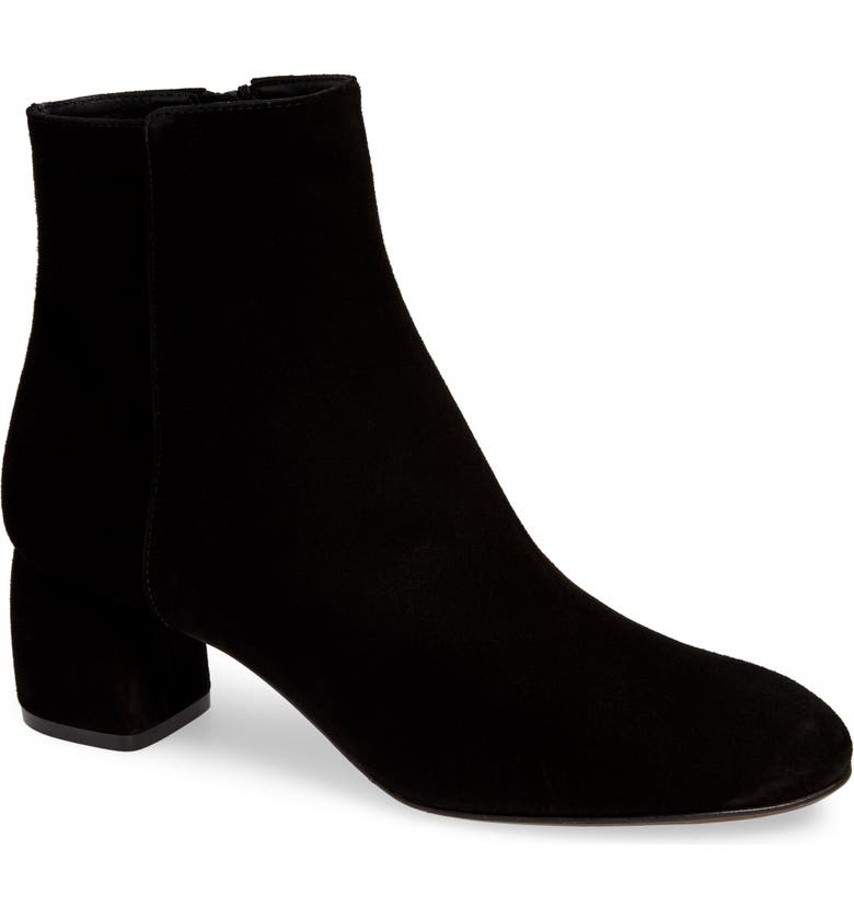 AGL Block Heel Bootie, Main, color, BLACK SUEDE