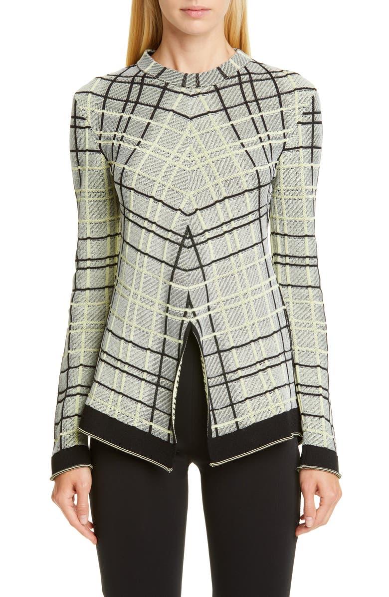 PROENZA SCHOULER Plaid Stripe Sweater, Main, color, BLACK/ FADED NEON YELLOW