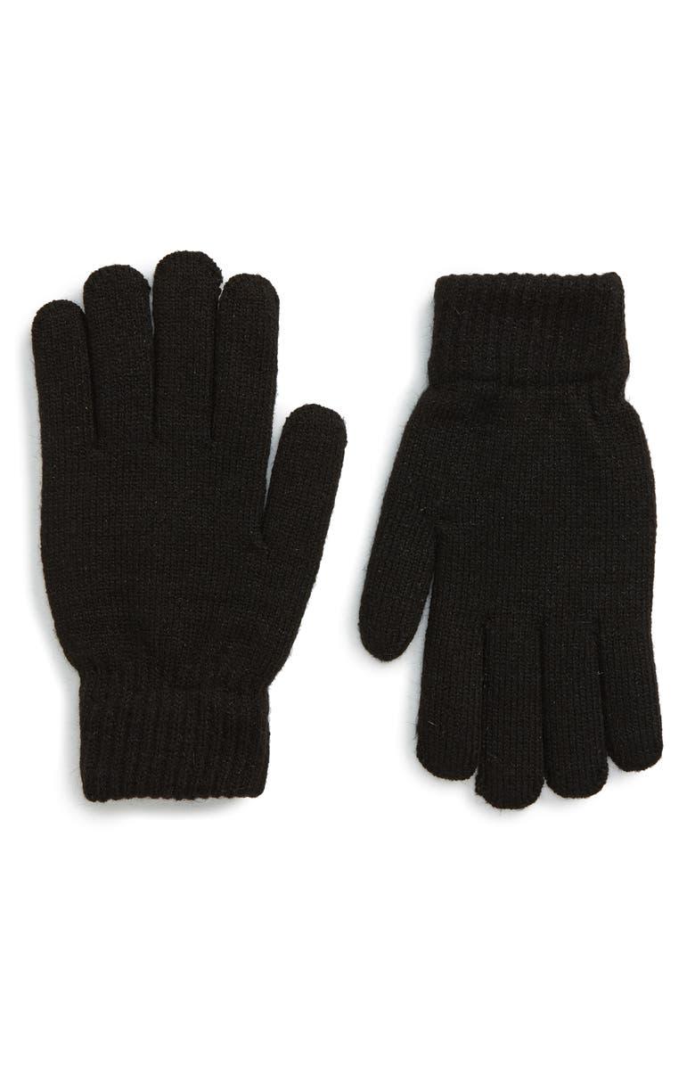 NORDSTROM MEN'S SHOP Fleece Lined Gloves, Main, color, BLACK