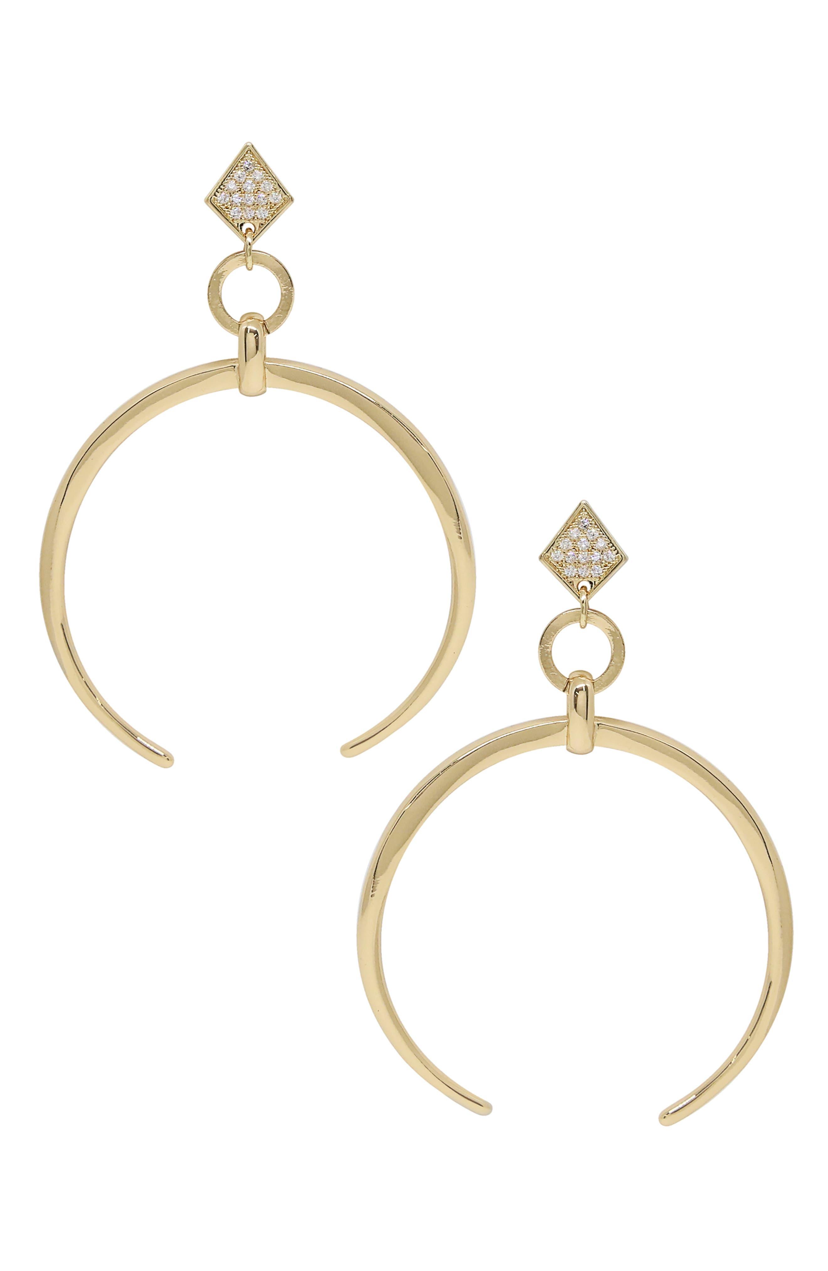 Crescent Horn Drop Earrings