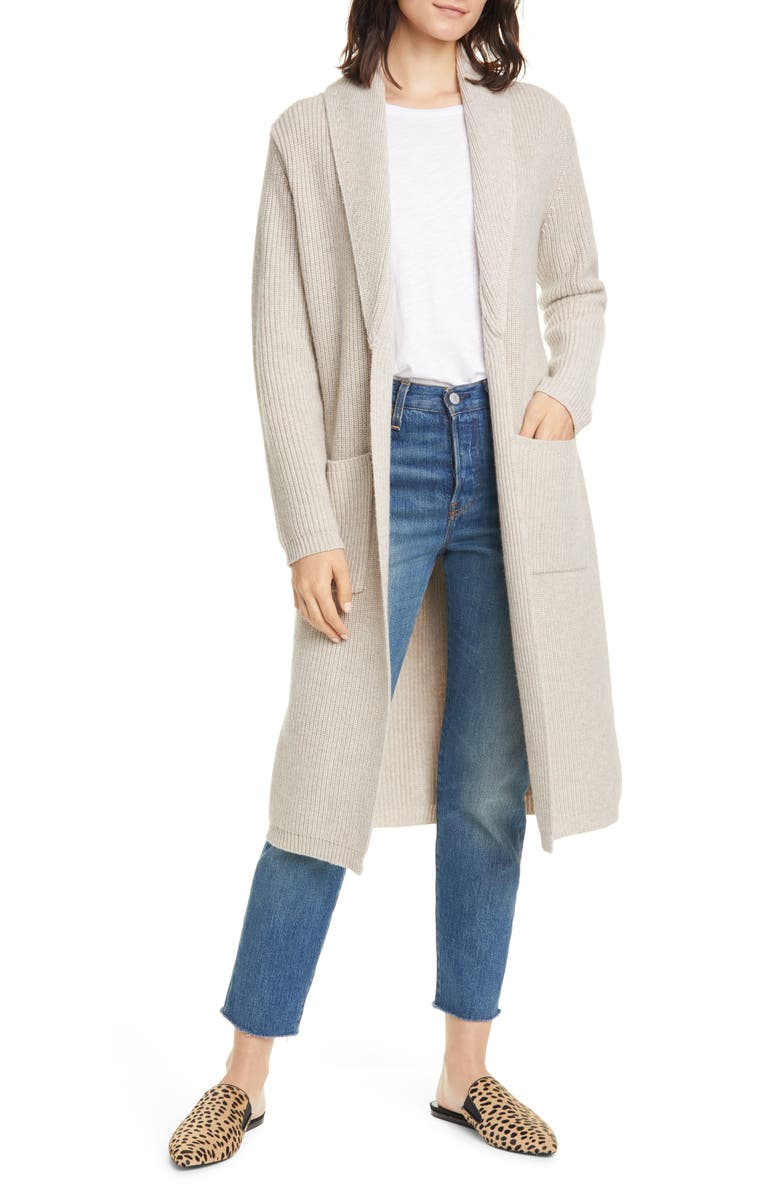 JENNI KAYNE Fisherman Wool & Cashmere Tie Waist Long Cardigan Sweater, Main, color, OATMEAL