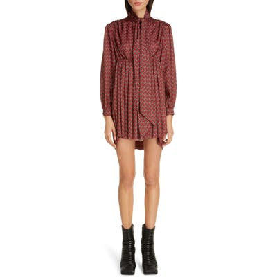 Balenciaga Paisley Print Long Sleeve Crepe De Chine Babydoll Dress, 8 FR - Burgundy
