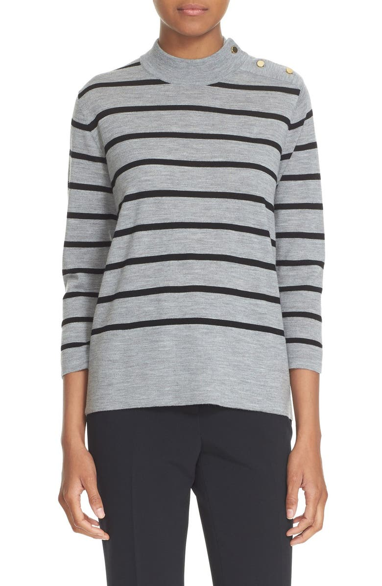 KATE SPADE NEW YORK stripe wool swing sweater, Main, color, 031