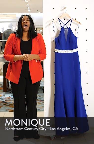 Jeweled Waist Scuba Crepe Evening Dress, sales video thumbnail