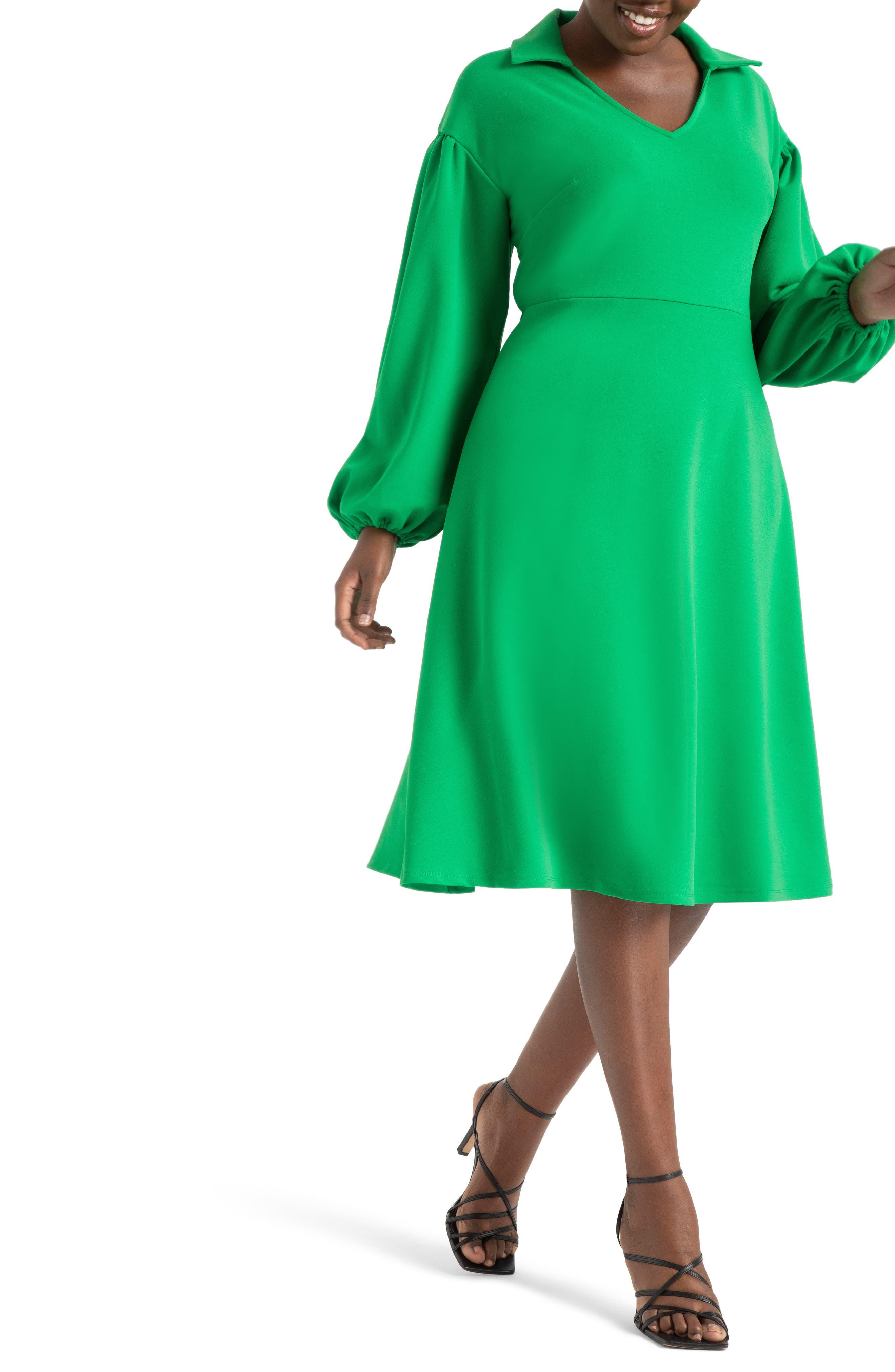 60s Dresses | 1960s Dresses Mod, Mini, Hippie Plus Size Womens Eloquii Drop Shoulder Fit  Flare Midi Dress Size 22W - Green $59.98 AT vintagedancer.com