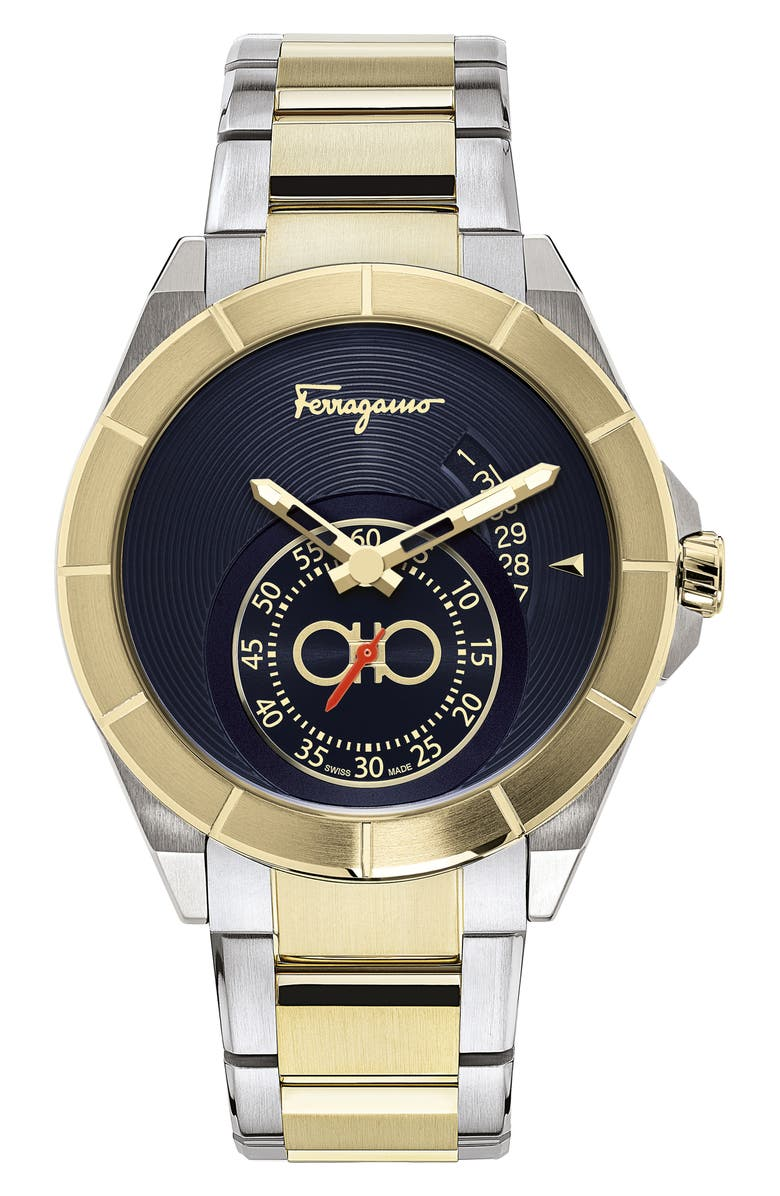 SALVATORE FERRAGAMO Urban Bracelet Watch, 43mm, Main, color, BLUE GUILLOCHE/ CHAMPAGNE