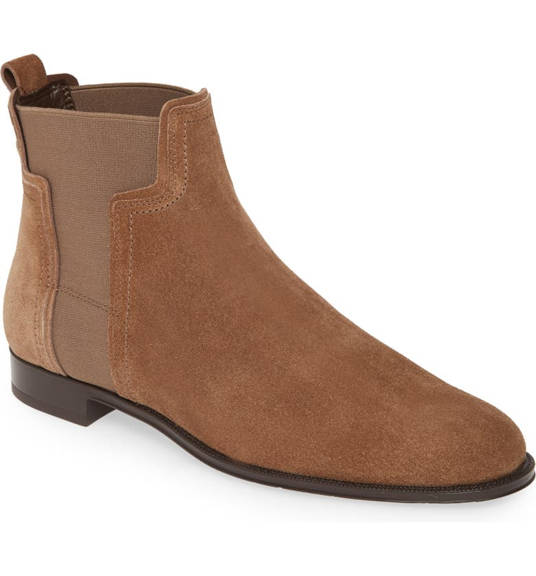 TOD'S T Logo Chelsea Boot, Main, color, BROWN SUEDE